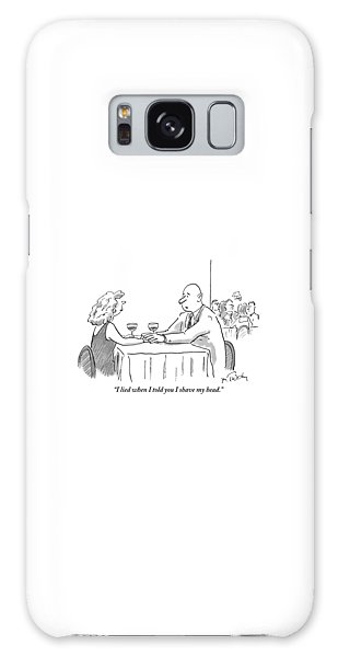A Bald Man Speaks To A Woman At A Restaurant Galaxy Case