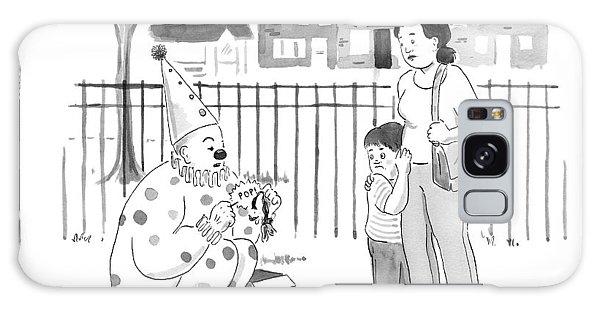 A Birthday Clown Pops A Balloon For A Little Boy Galaxy Case