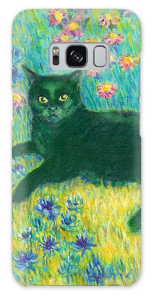 A Black Cat On Floral Mat Galaxy Case