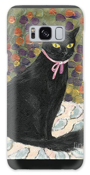 A Black Cat On Oyster Mat Galaxy Case
