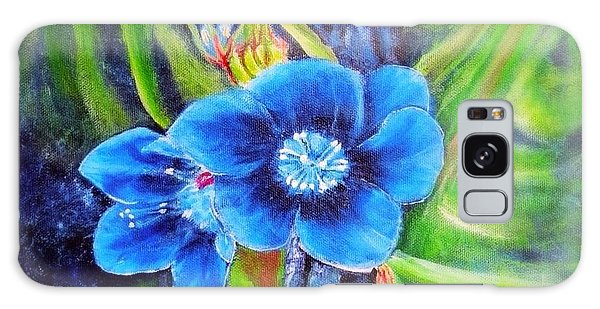 Exotic Blue Flower Prize For Blue Dragonfly Galaxy Case