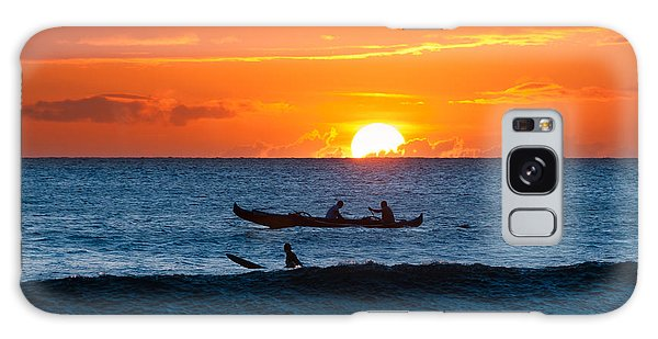 A Boat And Surfer At Sunset Maui Hawaii Usa Galaxy Case