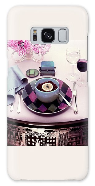 A Bowl Of Food On A Pink Table Galaxy Case