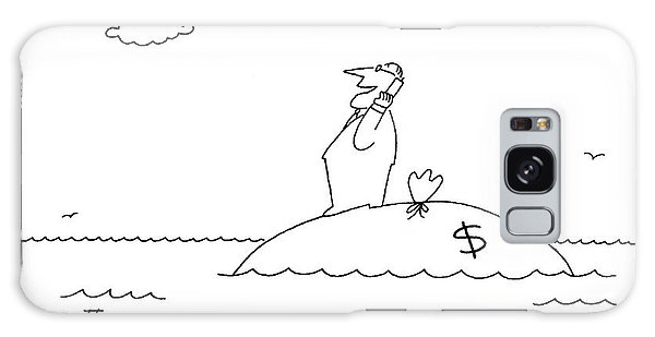 Shipwreck Galaxy Case - A Businessman On His Cellphone Stands On An by Charles Barsotti