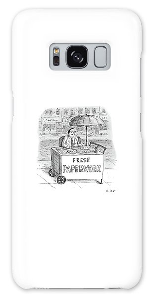 A Businessman Sits Behind A Food Cart/desk Galaxy Case