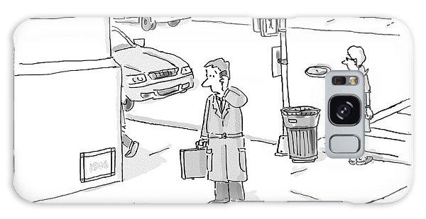 A Businessman Standing On A Street Corner Talks Galaxy Case