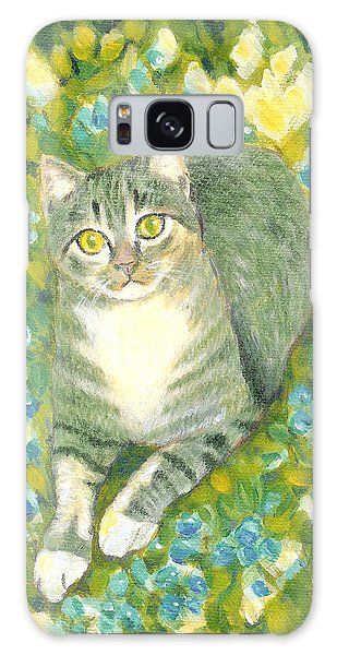 A Cat And Flowers Galaxy Case