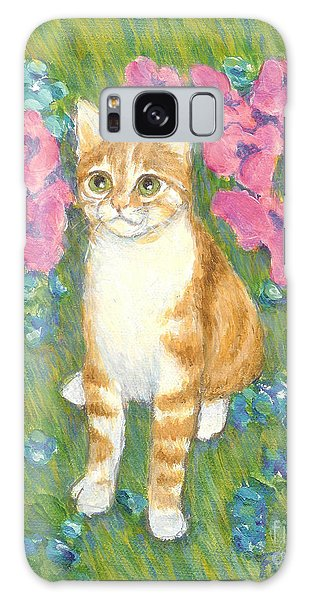 A Cat And Meadow Flowers Galaxy Case