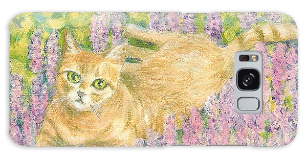 A Cat Lying On Floral Mat Galaxy Case