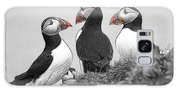 A Contemplation Of Puffins Galaxy Case by Fiona Messenger