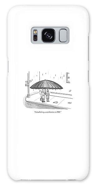 A Couple Under A Gigantic Umbrella On A City Galaxy Case