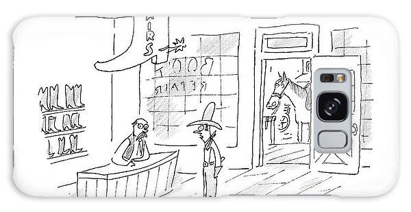 A Cowboy Talks To The Shopkeeper Of A Boot Spurs Galaxy Case