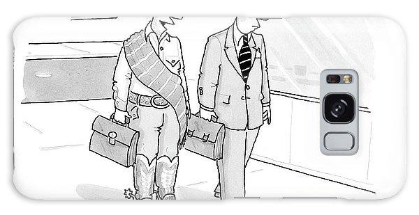 A Cowboy With A Briefcase Talks To A Businessman Galaxy Case