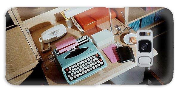 A Cupboard With A Blue Typewriter Galaxy Case