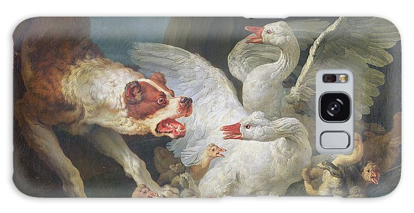 Gosling Galaxy Case - A Dog Attacking Geese, 1769 Oil On Canvas by Jean-Baptiste Huet