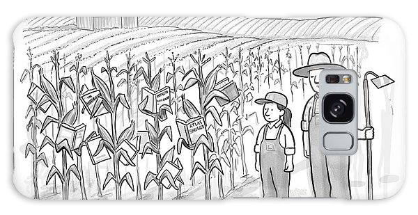 A Farmer And His Daughter Look At Cornstalks Who Galaxy Case
