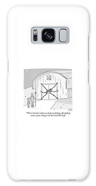 A Farmer Shows His Son A Barn That Is Locked Galaxy Case