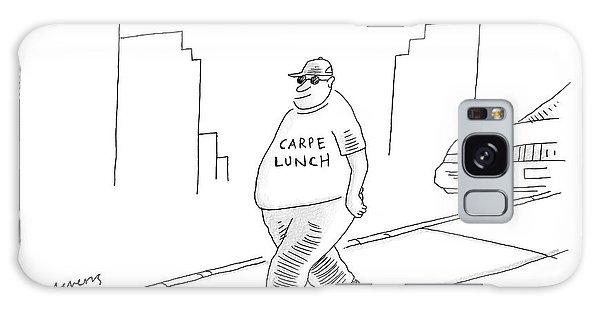 A Fat Man Walks Down The Street Wearing A T-shirt Galaxy Case