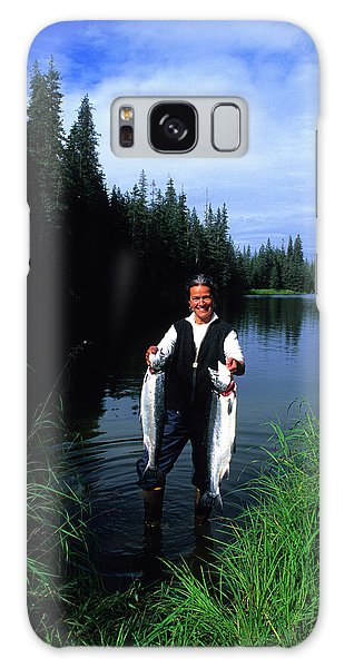 Boreal Forest Galaxy Case - A Female Angler Holds Two Silver Coho by Stephen Gorman
