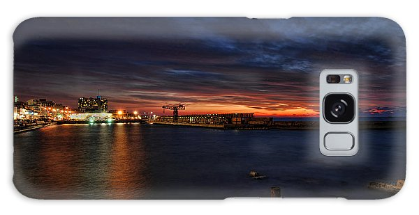 a flaming sunset at Tel Aviv port Galaxy Case