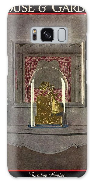 A Gilded Mantle Clock In A Bell Jar Galaxy Case