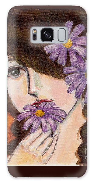 A Girl With Daisies Galaxy Case
