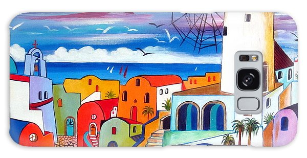 A Greek Mill And The Colors Of Oia Santorini  Galaxy Case by Roberto Gagliardi