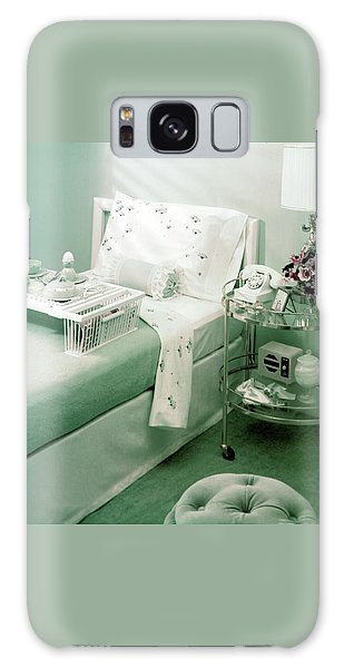 A Green Bedroom With A Breakfast Tray On The Bed Galaxy Case
