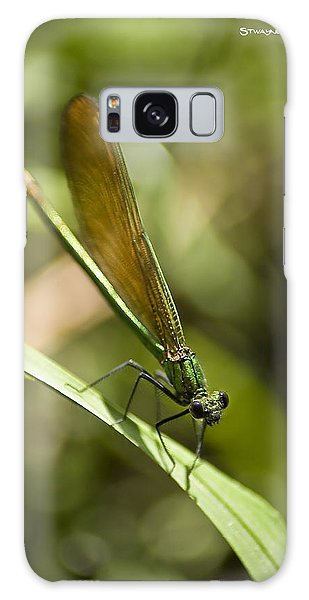 Galaxy Case featuring the photograph A Green Dragonfly by Stwayne Keubrick