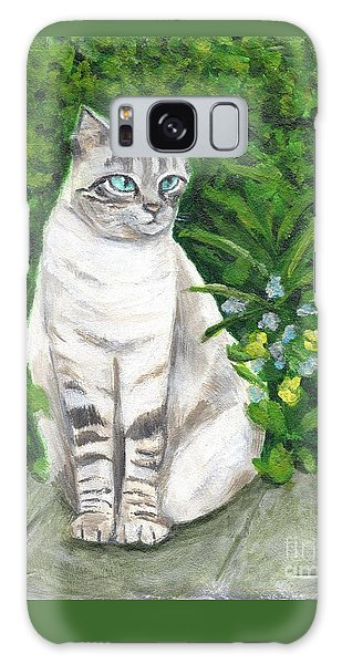 A Grey Cat At A Garden Galaxy Case