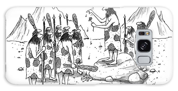 A Group Of Cavemen Gather Around A Leader Galaxy Case