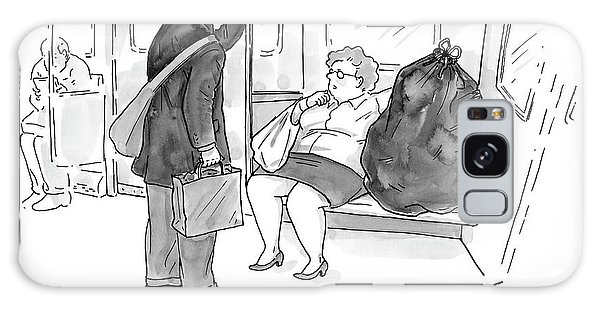 Trains Galaxy Case - A Heavy Woman On The Subway Sits With A Full by Carolita Johnson