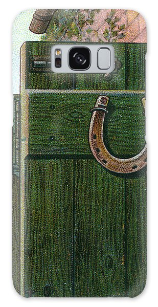 Folklore Galaxy Case - A Horseshoe Is Nailed To A  Farm Door by Mary Evans Picture Library