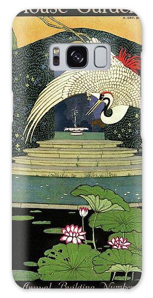 A House And Garden Cover A Bird Over A Pond Galaxy Case