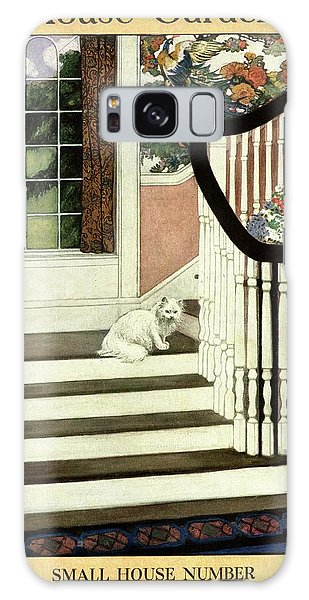A House And Garden Cover Of A Cat On A Staircase Galaxy Case