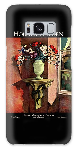 A House And Garden Cover Of A Vase Of Flowers Galaxy Case