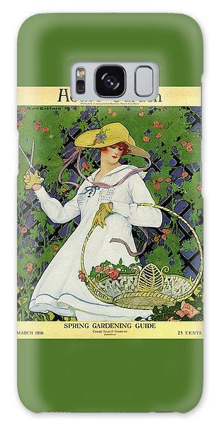 A House And Garden Cover Of A Woman Gardening Galaxy Case