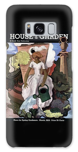 Magazine Cover Galaxy Case - A House And Garden Cover Of A Woman Watering by Georges Lepape
