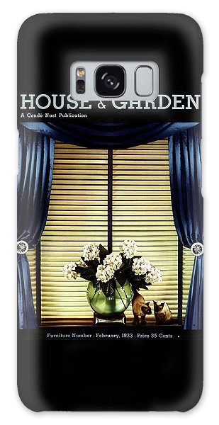 A House And Garden Cover Of Flowers By A Window Galaxy Case