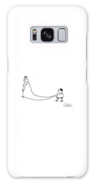 A King Walks And A Boy Wearing A 'staff' Shirt Galaxy Case