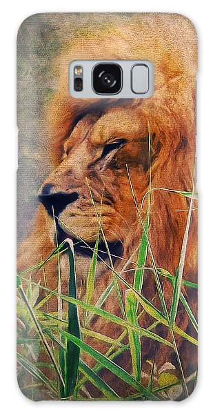 A Lion Portrait Galaxy Case by Angela Doelling AD DESIGN Photo and PhotoArt