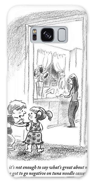 A Little Boy Speaks To A Little Girl Galaxy Case