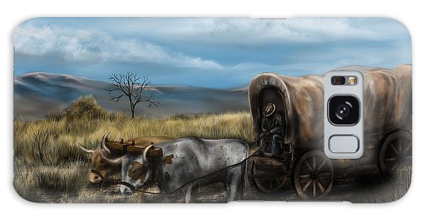 A Long Journey - Covered Wagon On The Prairie Galaxy Case by Ron Grafe