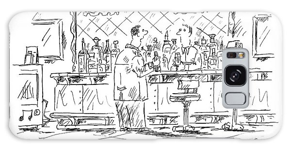 A Man At A Bar Talking To The Bartender Galaxy Case