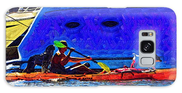 A Man His Kayak And His Dogs Galaxy Case