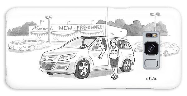 A Man In A Minivan Speaks To A Woman At A Car Galaxy Case