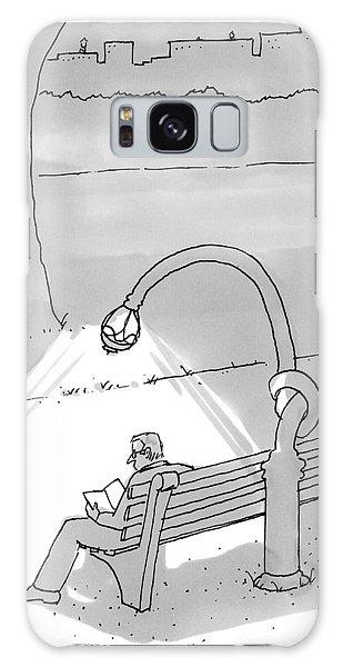 A Man In A Park Reading A Book While A Street Galaxy Case