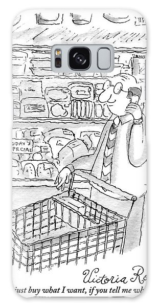 Cart Galaxy Case - A Man Is Seen Pushing A Shopping Cart And Talking by Victoria Roberts