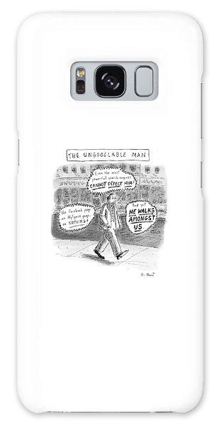 A Man Is Seen Walking Down The Sidewalk With Word Galaxy Case