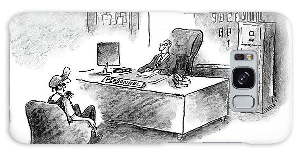 A Man Is Sitting Behind A Desk Talking To A Man Galaxy Case